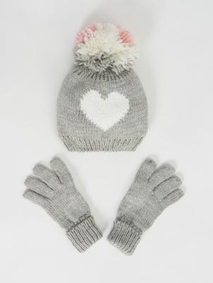 Grey Shimmer Bobble Hat and Gloves Set