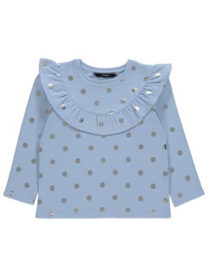 Pale Blue Foil Polka Dot Frill Sweatshirt