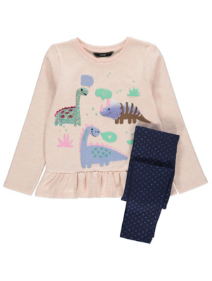 Pink Glitter Dinosaur Sweatshirt and Leggings Outfit