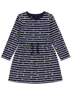 Navy Striped Star Print Skater Dress