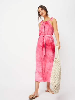 Pink Tie Dye Bow Strap Midi Dress