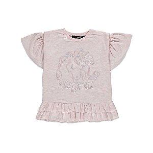 Pale Pink Frill Holographic Unicorn T-Shirt