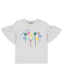 8b16b7bd White Fluted Sleeve Glittering Palm Tree T-Shirt