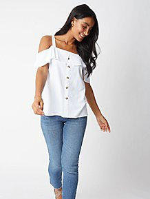 68b04ef077a0e0 White Button Down Frill Cold Shoulder Top