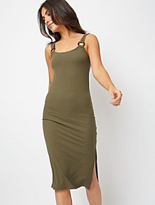 fcb5ee468a973 Khaki Ribbed Tortoiseshell Effect Ring Detail Midi Dress
