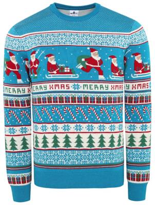 Blue Fairisle Knitted Christmas Jumper
