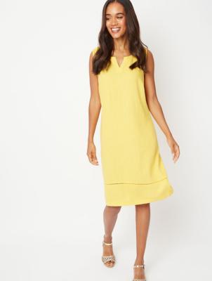 Yellow Linen Blend Midi Shift Dress
