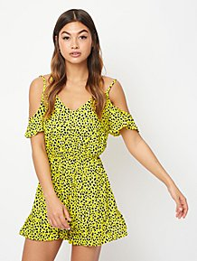 4c9e95c0b528d2 Yellow Leopard Print Cold Shoulder Playsuit