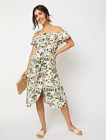 82810f95d Cream and Green Floral Bardot Midi Dress