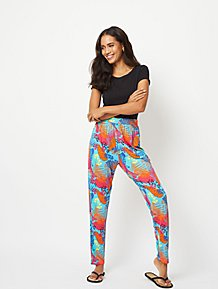 55fa511d2abec3 Aqua Blue Tropical Leaf Print Jersey Trousers