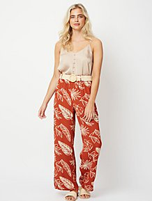 34b7583694d3e5 Burnt Orange Belted Palm Print Palazzo Trousers