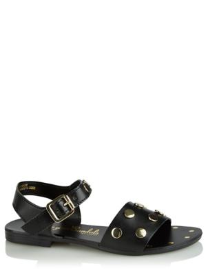 Black Studded 2 Strap Buckle Sandals