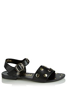 d6587b2ebb08 Black Studded 2 Strap Buckle Sandals