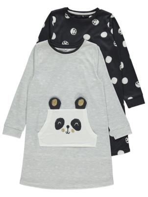 Grey Panda Nightdresses 2 Pack