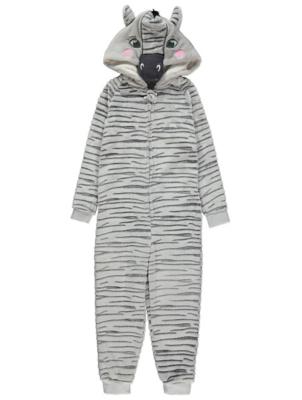 Grey Rippled Zebra Onesie