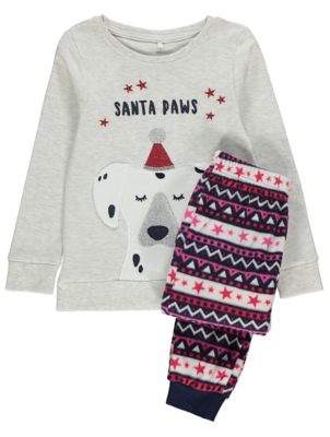 Grey Santa Paws Pyjamas