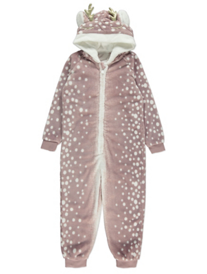 Dusty Pink Reindeer Fleece Onesie