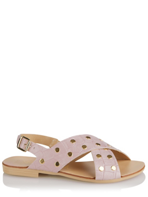 Pink Studded Crossover Slingback Sandals