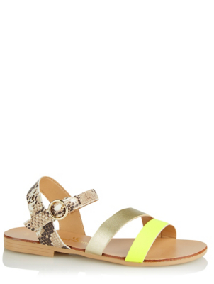Neon Yellow Snake Boho Buckle Sandals