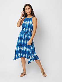 dbb6cb20563 Blue Animal Print High Neck Resin Chain Dress