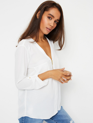 Ivory Sheer Mock Zip V-Neck Blouse