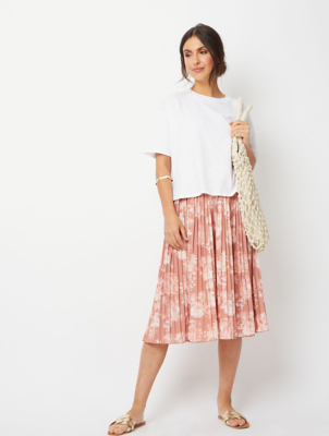 Pink Tropical Scene Pleated Midi Skirt