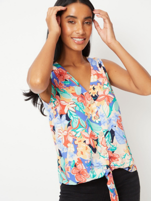 Floral Sleeveless Buttoned Knot Front Blouse
