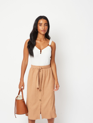 Beige Mock Button Down Textured Midi Skirt