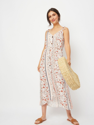 Cream Ditzy Floral Button Down Midaxi Dress