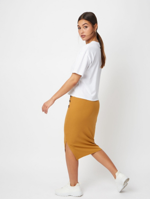 Mustard Ribbed Button Midi Skirt