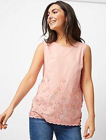 d4ad8b4fe3dcc1 Peach 3D Floral Detail Vest Top