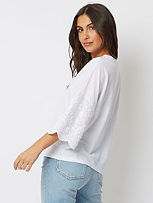 24488c8c13d179 White Embroidered Scalloped Wide Sleeve Top