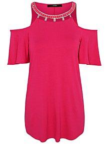 1465e56e1153ab Pink Cold Shoulder Embellished Collar Top