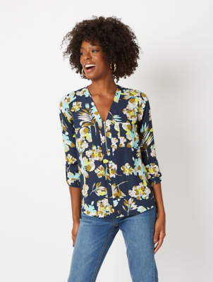 Navy Floral Zip Blouse