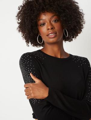 Black Embellished Top