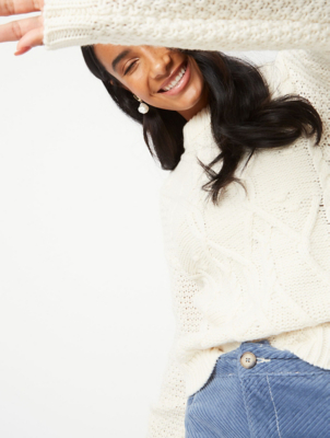 Cream Cable Knit Waffle Sleeve Jumper