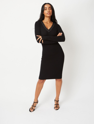 Black Embellished Rib Knit Dress