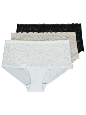 No VPL Lace Top Midi Knickers 3 Pack