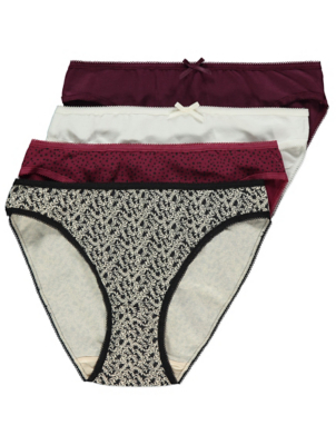 Assorted Patterned High Leg Knickers 4 Pack