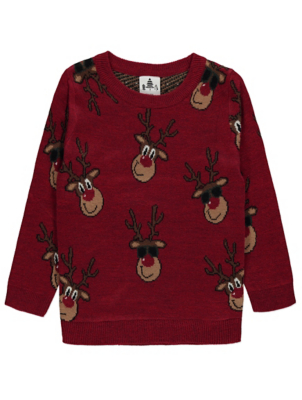 Red Rudolph Knitted Mini Me Christmas Jumper