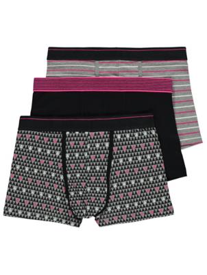 Tickled Pink Patterned Hipster Trunks 3 Pack