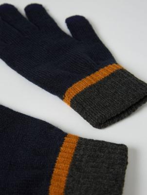 Navy Trim Touchscreen Gloves