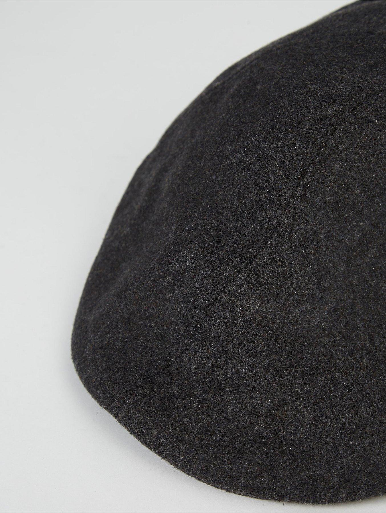 Dark Grey Woven Flat Cap