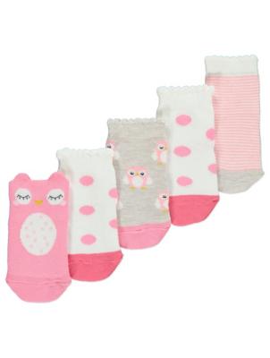 Pink Owl Print Socks 5 Pack