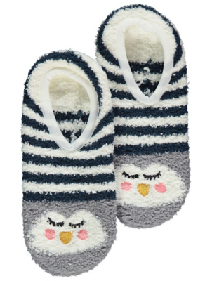 Grey Penguin Cosy Slipper Socks