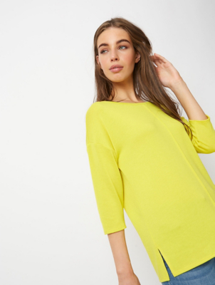 Yellow Scoop Neck Snit Lightweight Jumper