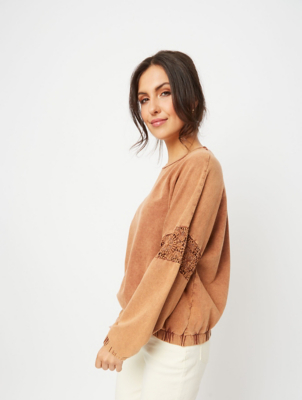 Light Brown Lace Sleeve Insert Sweatshirt