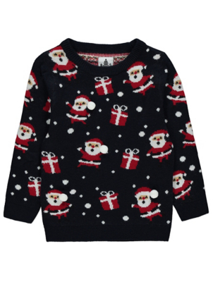 Navy Santa Patterned Christmas Jumper