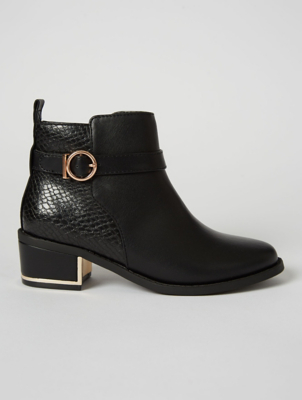 Black Patent Scalloped Trim Chelsea Boots