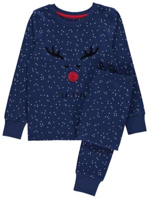 Blue Star Print Rudolph Slogan Christmas Pyjamas